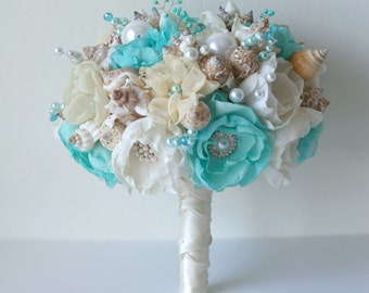 Seashells Bouquet. Aqua blue and ivory wedding bouquet. Beach wedding bouquet. Beach wedding accessories
