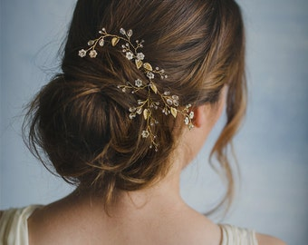 Petite flower hair vine, floral comb, gold crystal headpiece, romantic jeweled hairpiece, bride hair jewelry, ivory blossom - style 243