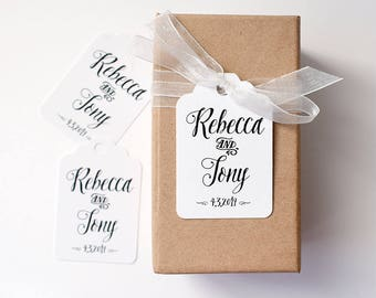 Personalised favour tags, customise your names and date, Wedding or engagement bomboniere, Rustic style tag, rustic wedding, tropical, tag