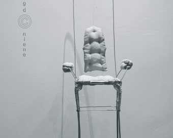 Large Wire display armchair for art dolls. Industry style tall and elegant base/ pedestal.