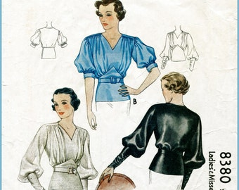1930s Style Gathered Bust Super Full Balloon Sleeve Blouse Custom Made in Your Size From a Vintage Pattern