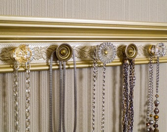 Champagne gold necklace organizers. This Jewelry wall rack is 15 inches with 5 decorative vintage inspired knobs great gift  jewelry storage