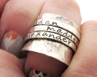 Personalized Ring,  Sterling Silver Name Ring,  Spinner Ring, Fidget Ring, Hand Stamped Jewelry, Mother's Ring, Wide Silver Ring
