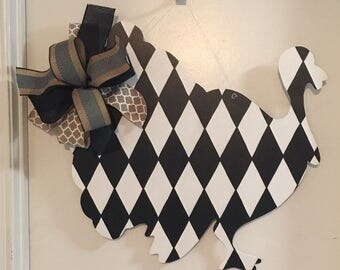 Turkey Door Hanger, Fall Door Hanger, Black and White Turkey, Thanksgiving Door Hanger