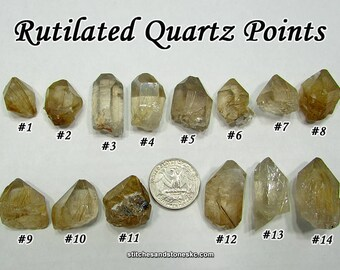 Rutilated Quartz Point raw rough stone for crystal healing Rutile