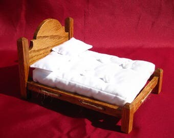 Dollhouse Bed Mini Double Bed 12th Scale Oak Rope Bed Smalll Doll Bed Full Size 12th Scale Dollhouse Bed Miniature Bed Miniature Oak Bed