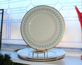 4 Syracuse China Old Ivory Sherwood Dinner Plates Vintage 1950s