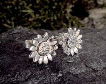 Silver Sunflower Earrings, Flower Earrings, Sterling Silver Stud Earrings, Floral Jewelry, MADE TO ORDER