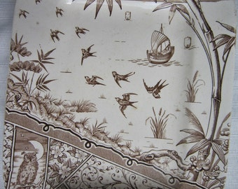 Aesthetic Period Brown Transferware Platter