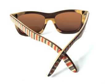 Recycled Skateboard Sunglasses  - made in canada - Brown