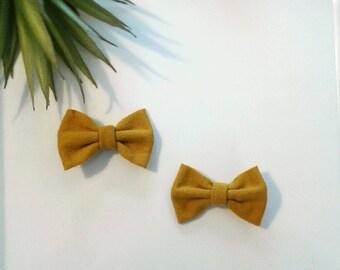 Mini hair bows mustard yellow baby girls clip modern set of two