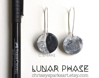 Hand Painted Lunar Phase Earrings - Full  Moon - Space - Silver - Cresent Moon - Fashion - Moon Earrings - Handmade Earrings - Wood Jewelry