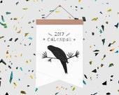 Illustrated Birds 2017 Calendar on Wooden Hanger