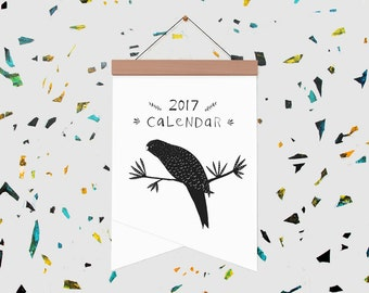 Illustrated Birds 2017 Calendar on Wooden Hanger