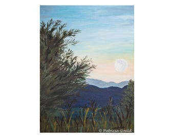 Moonrise Over the Valley - original painting, acrylic on GessoBord