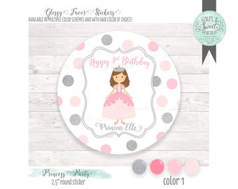 Princess Birthday Favor Sticker.  Personalized with name, phrase & hair color. Favor glossy round sticker in Muliple QTY size and colors