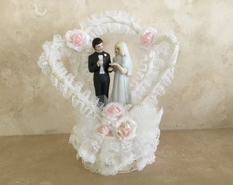 Vintage Wedding Cake Topper by Springers Glass on Silk