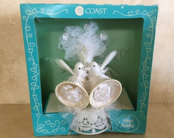 Vintage Coast Novelty Handpainted Doves Wedding Cake Topper circa 1980