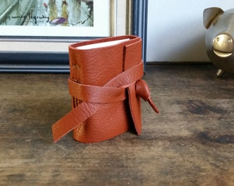 Mini Leather Journal, Orange, Hand-Bound 2 x 3 Journal by The Orange Windmill 1685