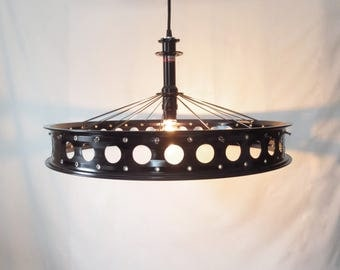 Recycled Fat Tire Bicycle Wheel Rim Ceiling Lamp , Unique Recycled Home Decor , Industrial Lighting