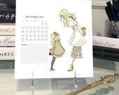2017 Desktop Calendar, fashion illustration calendar, 7 by 7 inch, monthly calendar