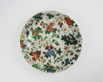 Vintage Daher Floral Tin Bowl - Daher Decorated Ware 1971 Made in England - Ornate Floral Bowl