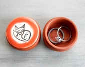 Sleeping Red Fox Ring or Pill Box Anniversary Jewelry Cute Tooth Fairy Stud Earrings Keepsake Nature Birthday Gift Pottery Photography Prop
