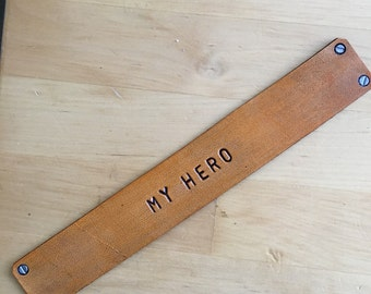 Leather Bookmark Gift for Military My Hero Faux Screws Bookmark Third Anniversary Gift
