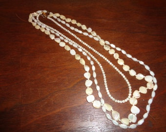 3 Antique Mother of Pearl Beaded Long Necklaces in Very Good Condition, 3 Different Mother of Pearl Beaded Necklaces for sale in ONE LOT