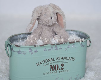 Small Rustic green vintage-look metal tub,  newborn photography prop, perfect for indoor/outdoor, distressed metal bin, RTS