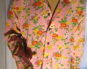 1970's Male Pink Floral Long Sleeve Shirt by Monzini