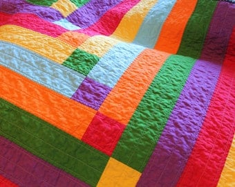 Modern Rainbow Baby Quilt, Crib Quilt, baby blanket, Red, Orange, Yellow, Green, Blue, Purple, Stepping Stones Quilt