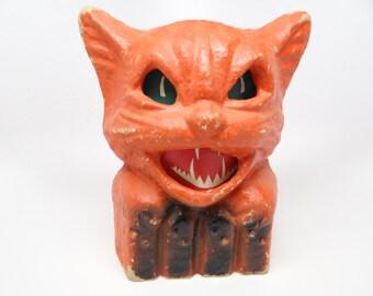 Vintage 1940's Orange Cat on Fence Halloween Lantern, made with Pulp Paper Mache