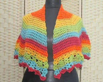 Rainbow crochet shoulder shawl with lacy edging