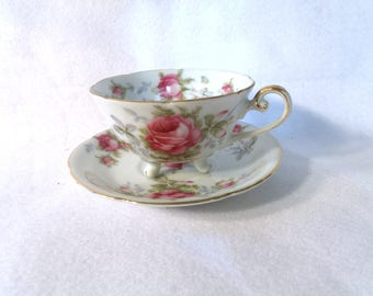 """Tri-footed Cup and Saucer, Lefton China """"Elegant Rose"""""""