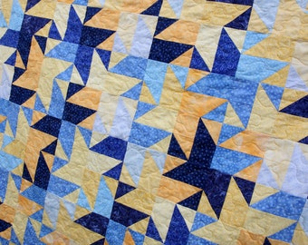 Patchwork Quilt, Blue & Yellow Stars, Single / Twin / Double Handmade by PingWynny