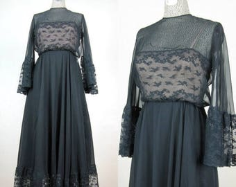 Now On Sale // Vintage 1960s 60s Black Chiffon Gown with Illusion Neckline and Lace, Size 8/M