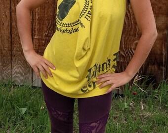 Yellow Black Fly Shop Hawaii Halter Top Size Small Up-cycled Shirt