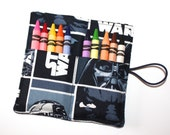 Star Wars Party Favors READY TO SHIP- R2D2 C-3PO DarthVader fabric Crayon-Roll Party Theme, Birthday Party Favors crayon wraps sleeve holder
