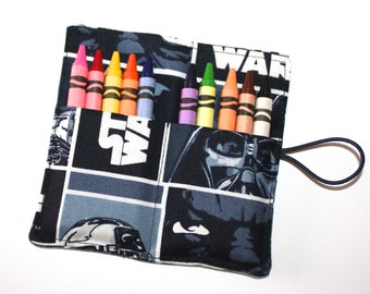 Crayon Roll Party Favors-made of Blue & White Star Wars fabric-Crayon-Rollup, Space Ships, holds up to 10 Crayons-Birthday Party Favors