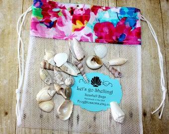 Sea Shell Bags READY TO SHIP, Drawstring SeaShell Bags, Watercolors Fabric Mesh Beach Bag, Shelling Bag, Shell Collecting Beach Spring Break