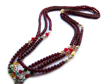 Triple Necklace, Long Triple Necklace, Multi Strand Necklace, Long necklace, Red Necklace, Deep Red Necklace, Burgundy Necklace, Glass Beads