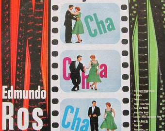 Vintage Midcentury Edmundo Ros Hollywood Cha Cha Cha EXC Tested 33 Vinyl Record London LL 3100 Great MCM Cover Graphics