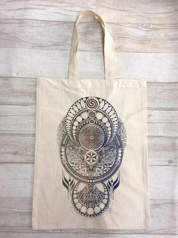 MANDALA TOTE BAG -Tree of life -Mandala- Hippie bag- Screen print- Cotton Bag- Hand Printed- Bag for Life- Upcycled Bag- Recycle- Handmade