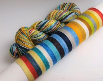 Hand Dyed Fingering/Sock Yarn, Self Striping, 80/20 Super Wash Merino/Nylon, Sunshine On A Cloudy Day