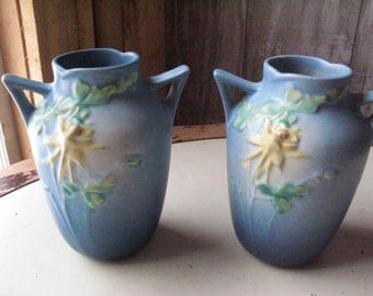 Two Matching Roseville Columbine Vases. So Sweet