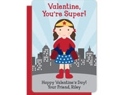 Superhero Girl Classroom Valentine - Personalized Valentines Cards for Kids - Valentine's Day Cards - Childrens Valentines