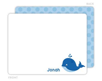 Whale Note Cards - Personalized Flat Note Cards - Whale Notecards - Kids Thank You Cards - Children Stationery