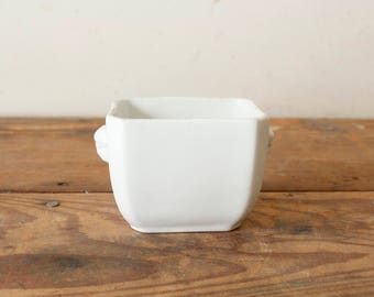 Vintage Ironstone Condiment Server Sugar Dish with Faces Handles