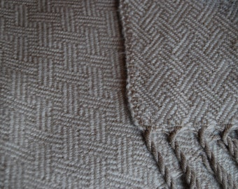 Silk and Baby Alpaca Handwoven Throw- Cream